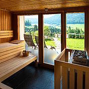 Sauna im Landhotel Stockerwirt**** mit Gebirgsblick