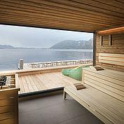 neue Sauna mit Panoramablick zum Traunsee